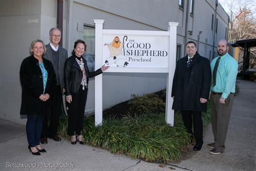 Among those participating in the ribbon-cutting ceremony on Nov. 26, 2019, to celebrate the opening of The Good Shepherd Preschool were (l. to r.) Stacy Horne, chairman of the board of directors for the Fredericksburg Regional Chamber of Commerce; preschool director Gary Wagner; the Honorable Mary Katherine Greenlaw, mayor of the City of Fredericksburg; and senior pastor Mike McDonald and family pastor Michael Koehl at Highway Assembly of God.