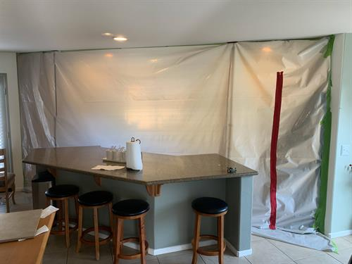 We isolate the mold using plastic zipper walls to keep the rest of the home safe!