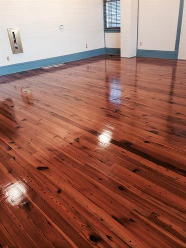 Beautiful antique pine floors refinished.