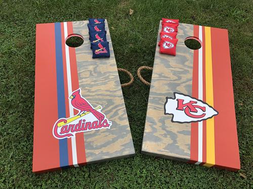 Custom Elite cornhole with KC Chiefs and STL Cardinals, custom bags and red LEDs
