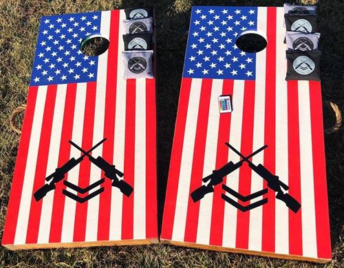 "Custom Elite Cornhole Boards with custom bags and LED lights in ""Multi"""