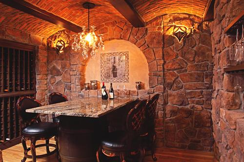 Barrel vaulted ceiling wine cellar