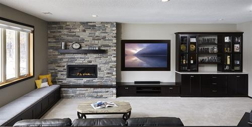 Lower level entertainment center remodel