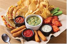 Classic Sampler with Spinach and artichoke dip, Chicken Quesadillas, Mozz sticks and Boneless wings
