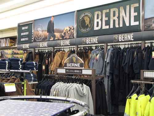 Berne apparel at Runnings.
