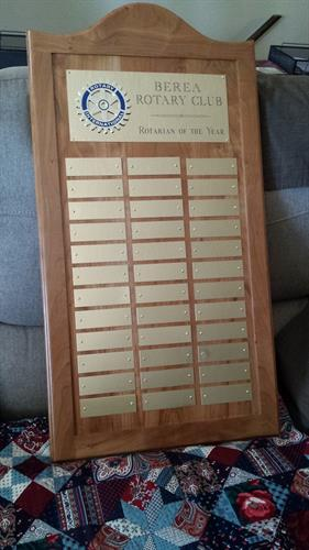 Rotary Club Rotarian of the year plaque