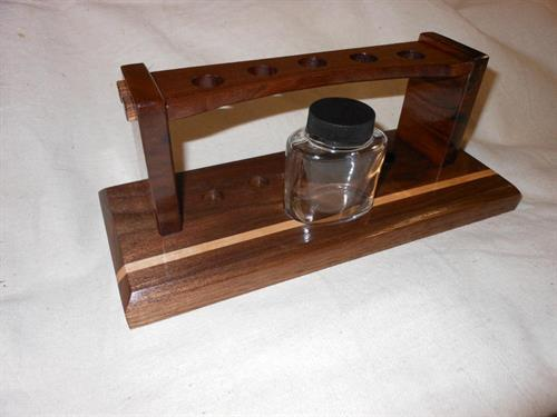 Old time ink pen rack, walnut inlaid with maple
