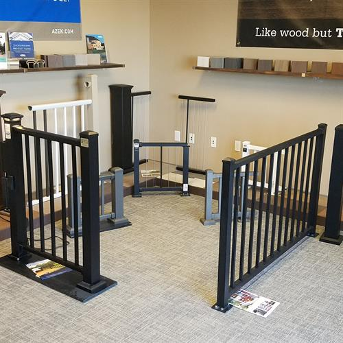 Collections of Aluminum Deck Railing in Black, Bronze, and White at our Showroom
