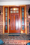 New Mahogany Door and Side Lites After Installation and Staining/Varnishing