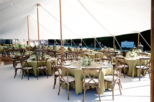 Wedding reception under a sail cloth tent