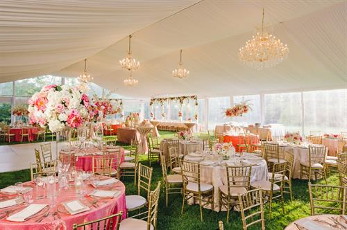 Wedding reception under frame tent