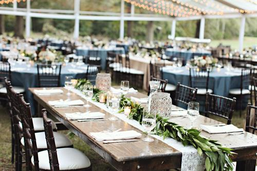 Farm Tables for a reception