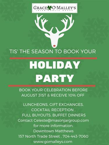 Book Your Holiday Party Early and Enjoy The Perks