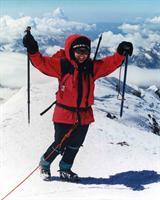Lori Schneider on the summit of Mt. Elbrus, Europe's highest peak.