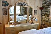 Dresser in bedroom features views of nature