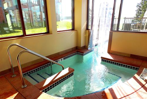 Enjoy our indoor/outdoor whirlpool year round! Plus our indoor pool & fitness room!