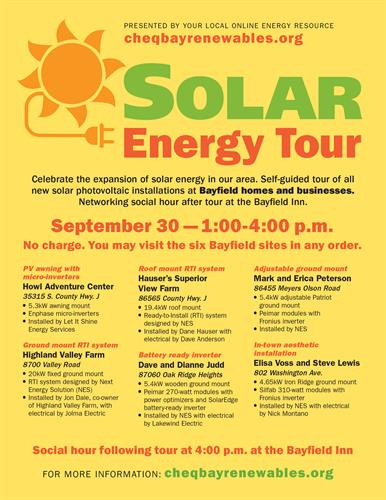 Poster design for Cheq Bay Renewables' Solar Tour