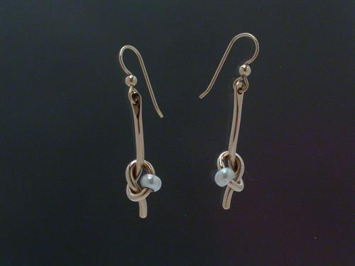 Earrings: Gold Filled Knot with Pearls