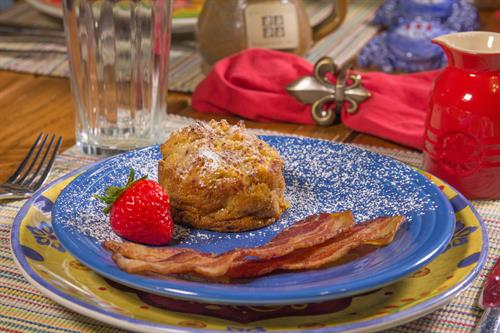Bake apple cinnamon french toast with bacon, the third course of one of our many three course breakfasts
