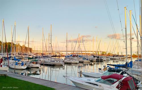 Enjoy the marina views at Portside Bar + Restaurant in Bayfield, WI