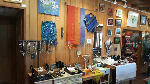 hand-made jewelry, rugs, knit items