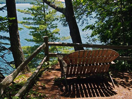 South corner bench with views of Madeline Island