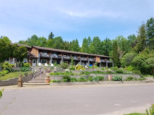 Lakeside view of the hotel units