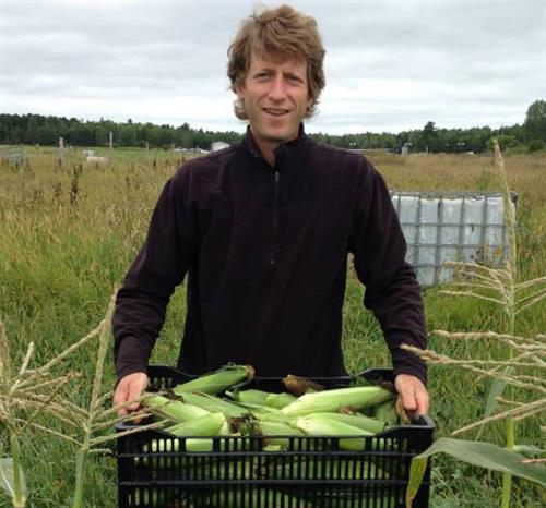 John Adams of Yoman Farm in Washburn, WI harvests corn.
