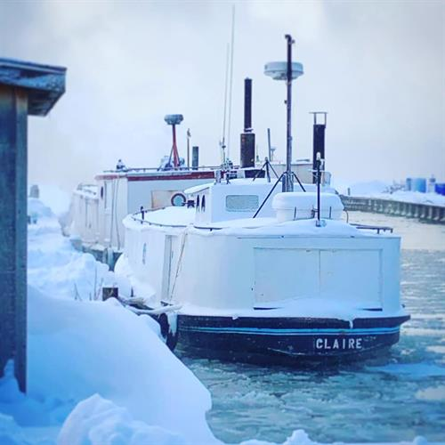 The Bodin Fisheries boat braves a cold winter on Lake Superior.
