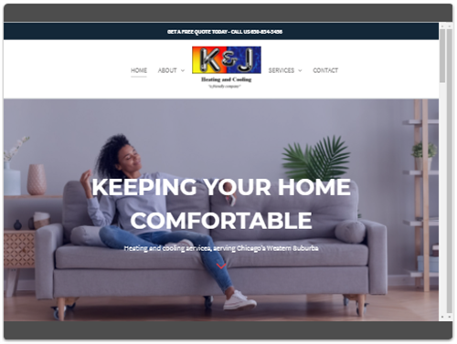 K & J Heating and Cooling website