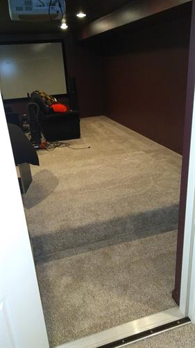 New carpet in basement theater room.