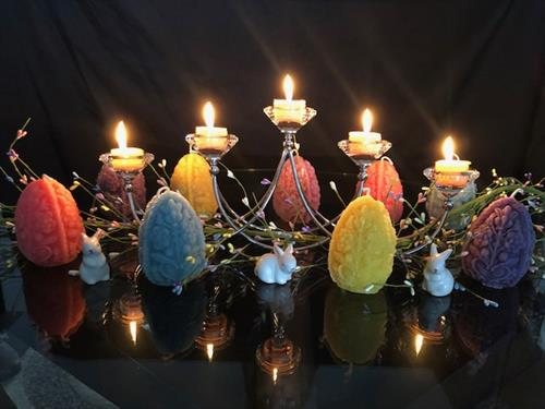 Beeswax Easter Egg Candles with Beeswax Tealights in Centerpiece