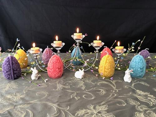 Easter Egg Beeswax Candles with centerpiece and beeswax tealight candles