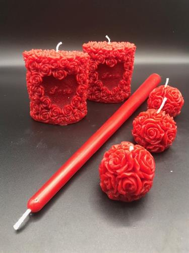 Love & Roses Beeswax Candles, Red Beeswax Taper Candle, Rose Ball Beeswax Candles