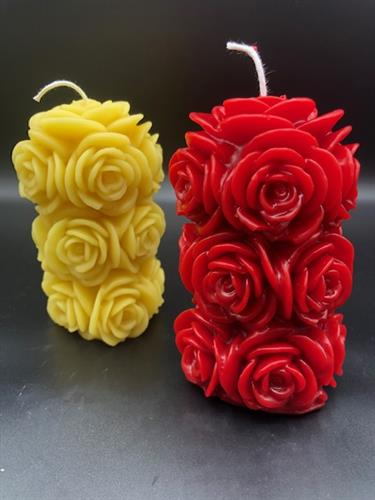 Rose Pillar Beeswax Candles