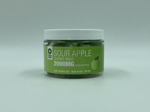 2000MG Sour Apple CBD Gummie Rings