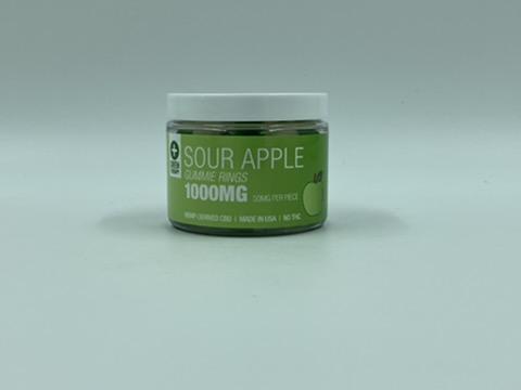 1000MG Sour Apple CBD Gummie Rings