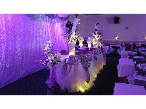 Wedding with Head Table Draping and Backdrop Draping.  We also do UPLIGHTING - Guests 275