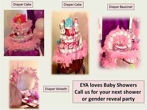 Diaper Cakes, Bikes, Cribs,  you name it we make it at our studio.