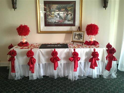 We create aisle runners, have chair covers and sashes for your event