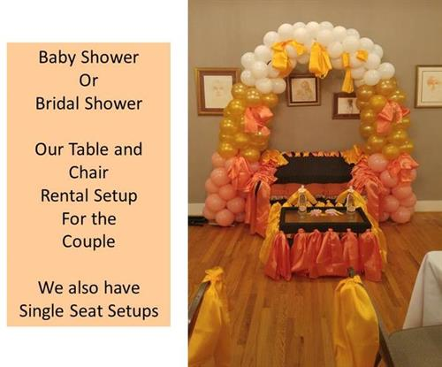 "Baby or Bridal Shower - The full setup for the ""mommy and daddy"" to be...we do ""bride and groom"" also...do something different."