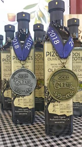 Orange County Fair Extra Virgin Olive Oil Competition Gold and Silver Medals