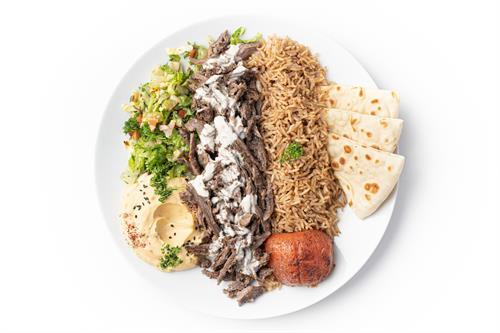 Carved Meat Plate (with seasoned basmati rice, hummus and salad)