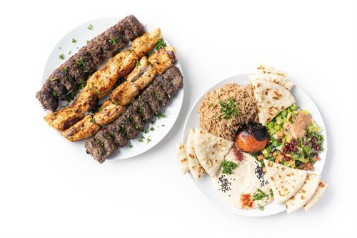 Family Kebab Combo (with seasoned basmati rice, hummus and salad)
