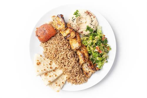 Grilled Chicken Kebab (with seasoned basmati rice, hummus and salad)
