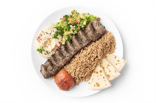 Ground Beef & Lamb Kebab (with seasoned basmati rice, hummus and salad)