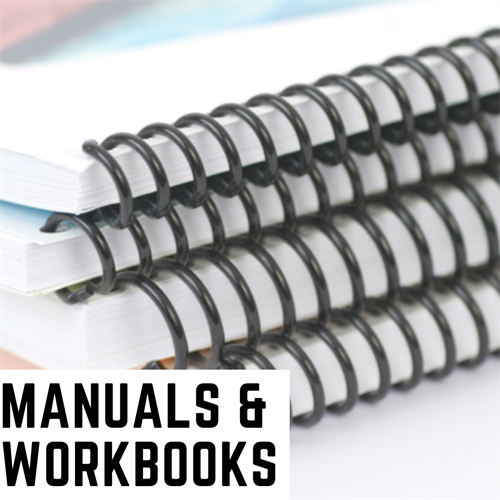 We offer a variety of professionally bound Manuals, Presentations and Workbooks. Custom Tabs & Covers, we got you covered!