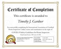 Certification of COVID-19 Safety Guidelines for Home Inspectors completed by Tim Gardner, Inspecx Home Inspection Services