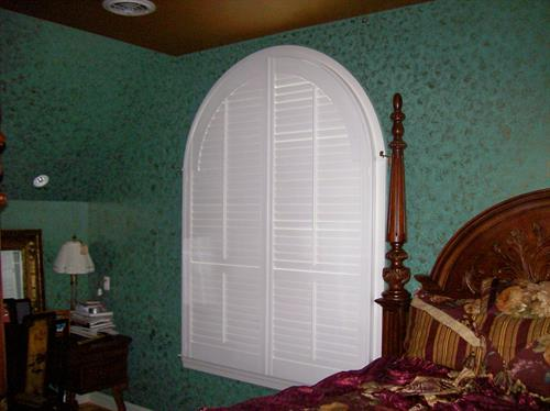 Custom specialty shapes, plantation shutters