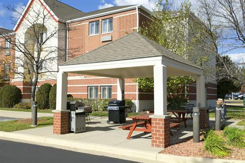Seasonal Outdoor Gazebo and Picnic Area with Gas Grill